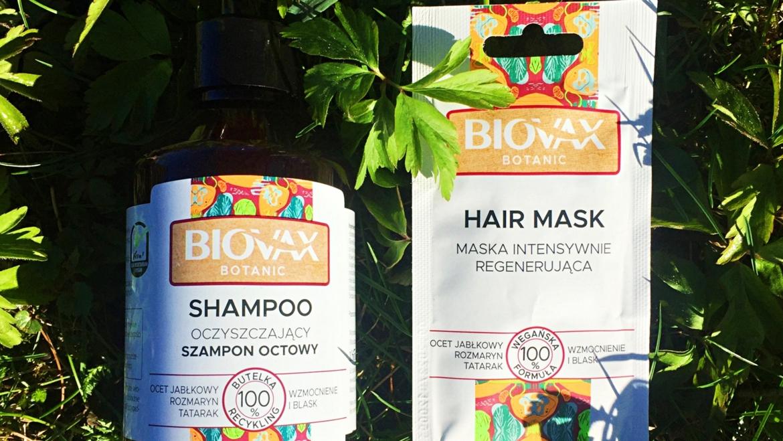 BIOVAX Botanic, Oczyszczający szampon octowy i Maska intensywnie regenerująca z octem
